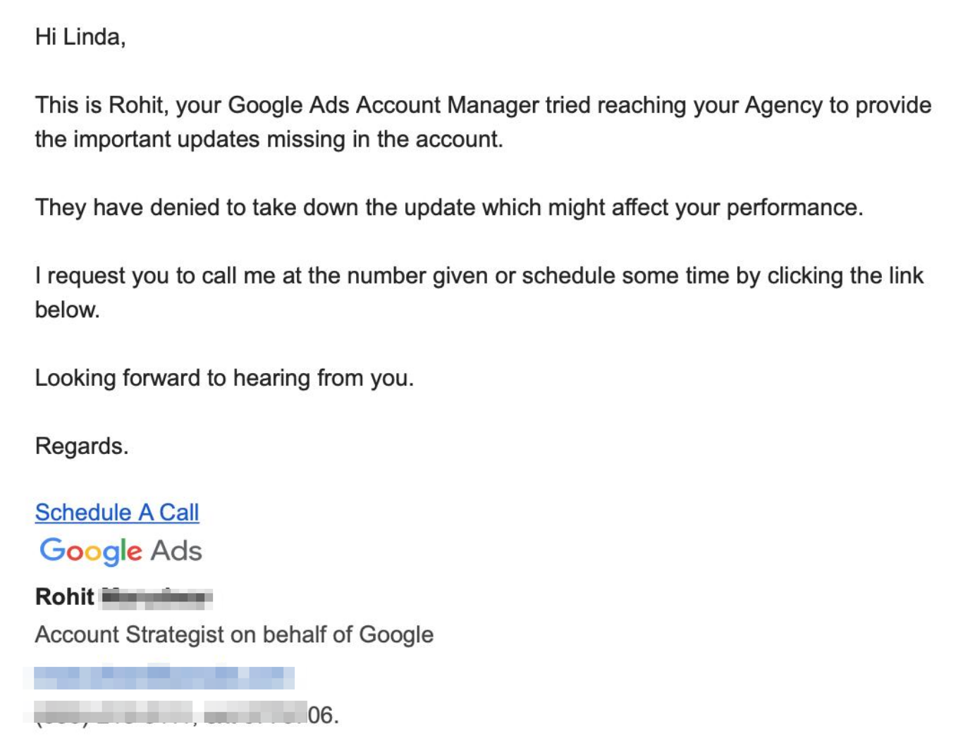 Be wary of getting emails from 'Google Ads reps' saying they need to fix issues in your Google ads accounts