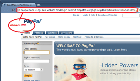 Example of spoofed site