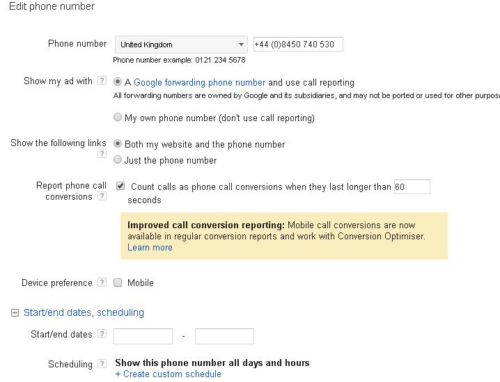 adwords google call forwarding