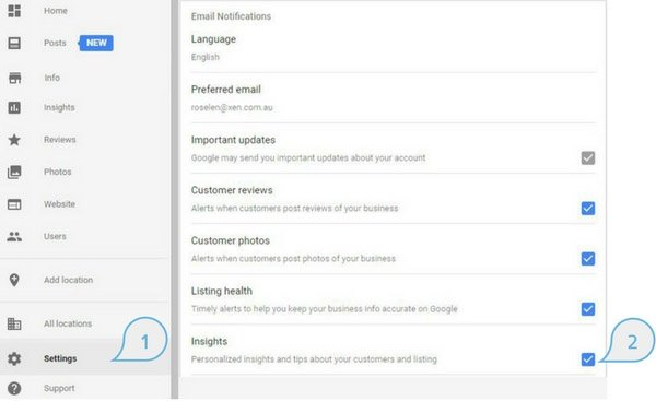 Enabling Google My Business Insights