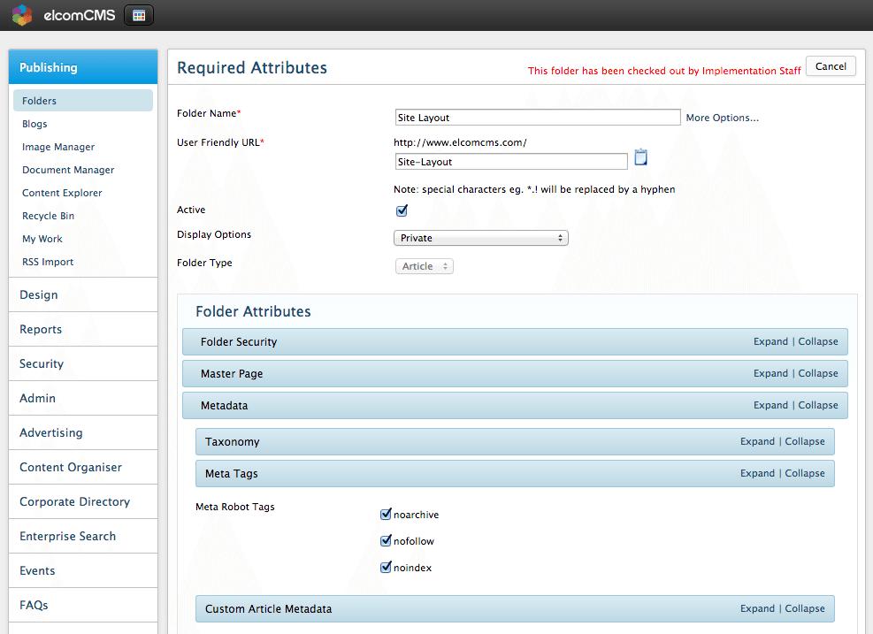 elcomCMS Folder Settings Meta tags