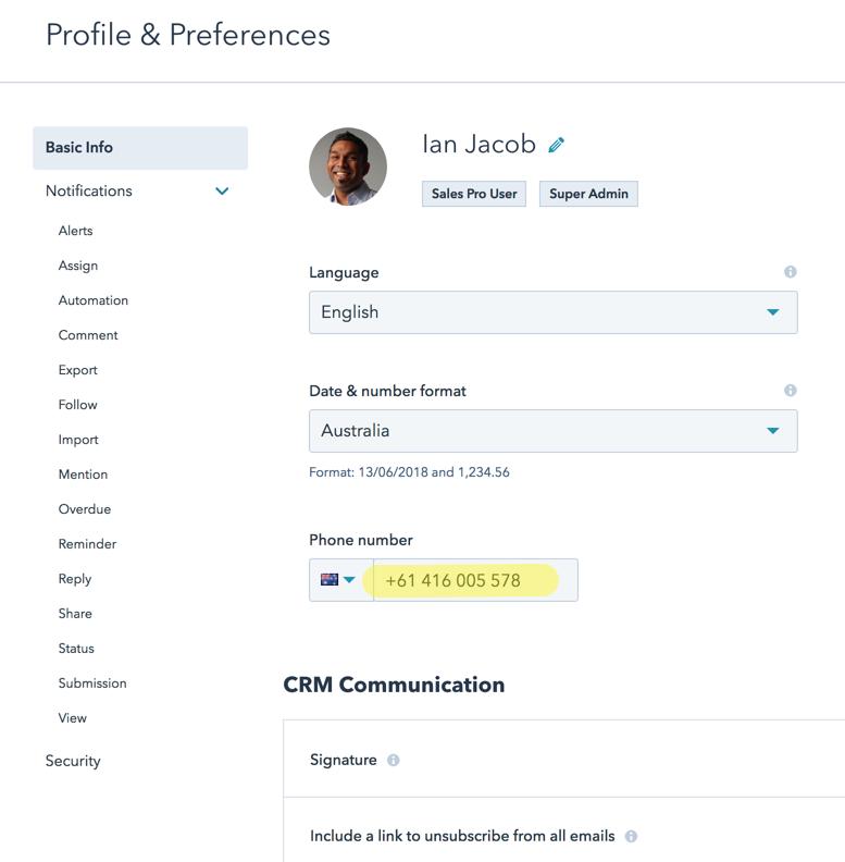 User Preferences HubSpot 1