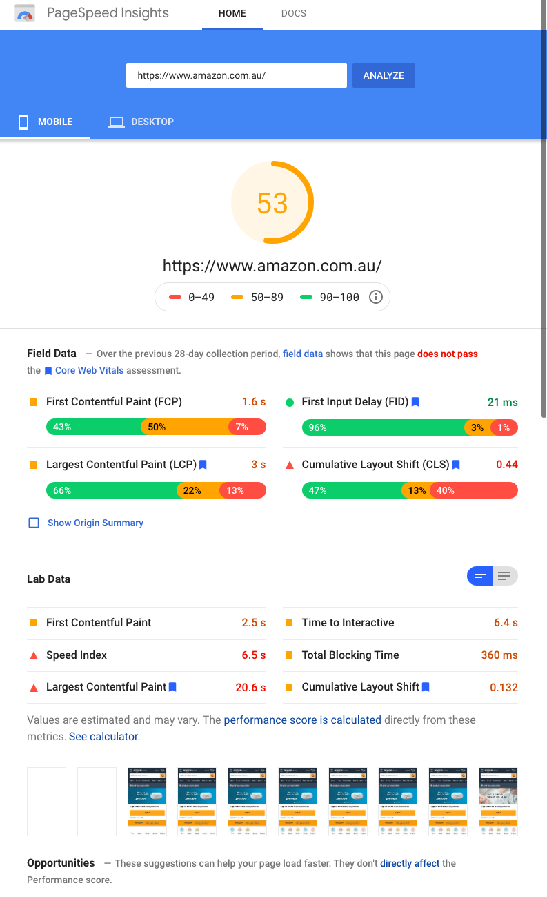 hubshots pagespeed insights 2