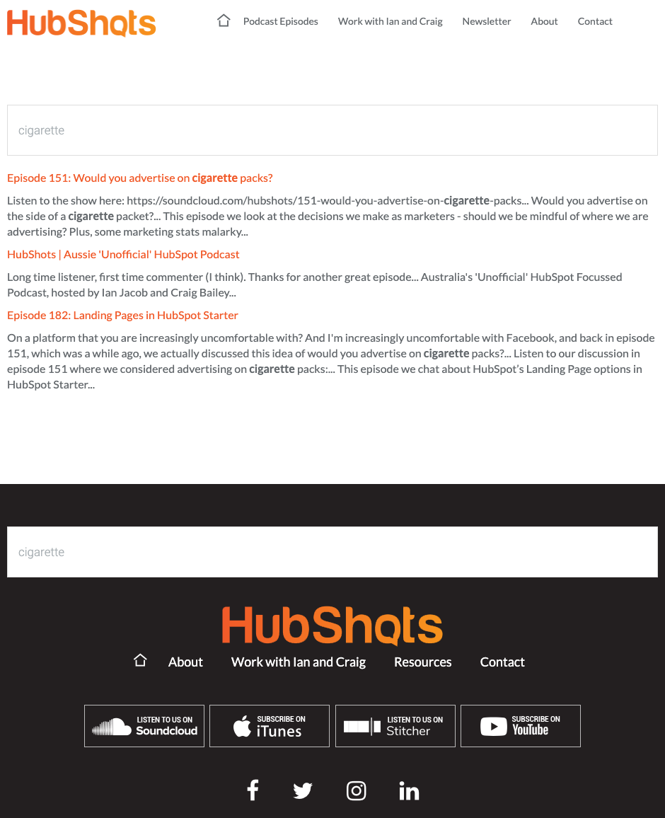 hubshots site search