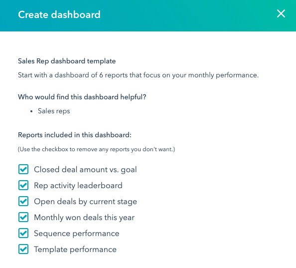 hubspot dashboard library create