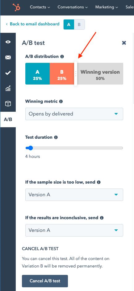hubspot email default a b settings 1