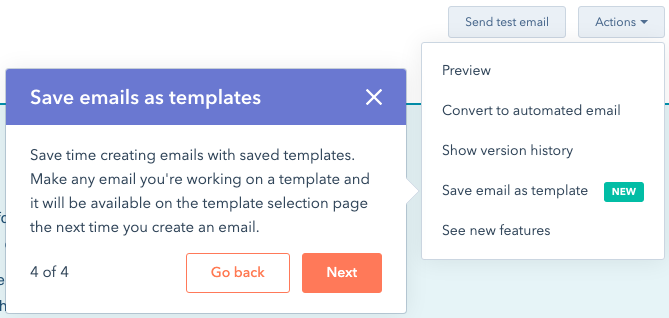 hubspot save email as template