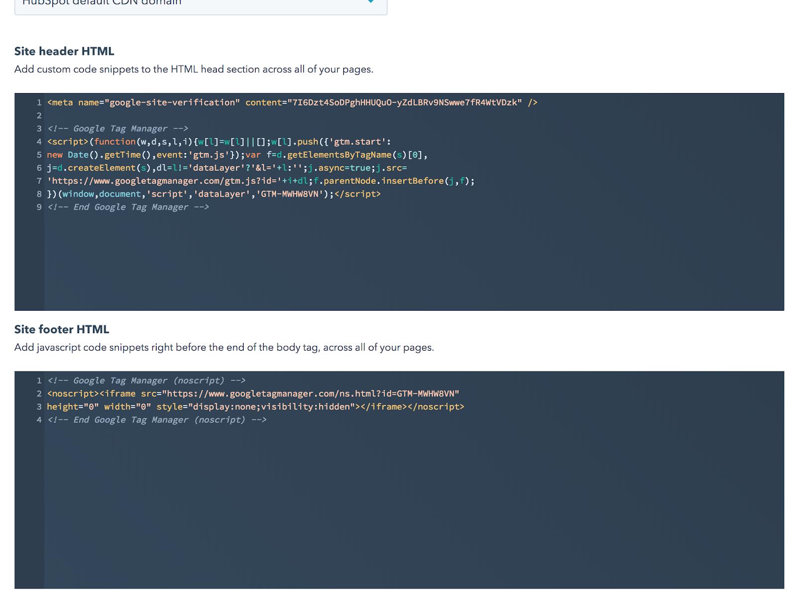 hubspot web gtm settings
