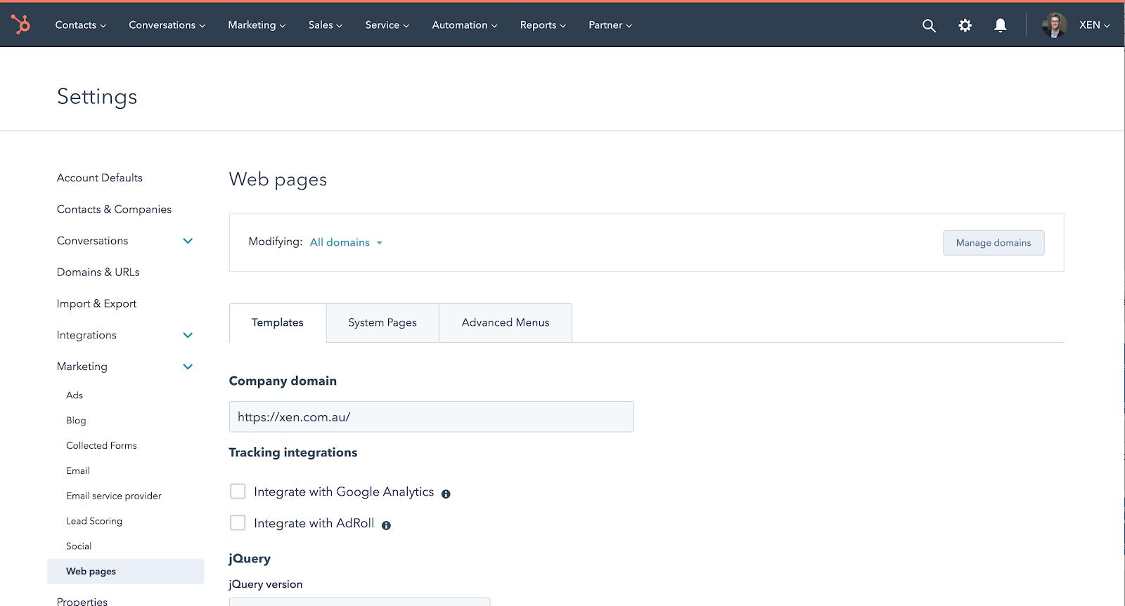 hubspot web settings