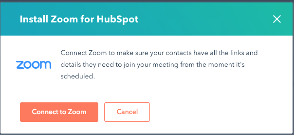 hubspot zoom connect popup