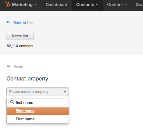 select contact property
