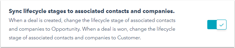 sync lifecycle stages to associated contacts and companies